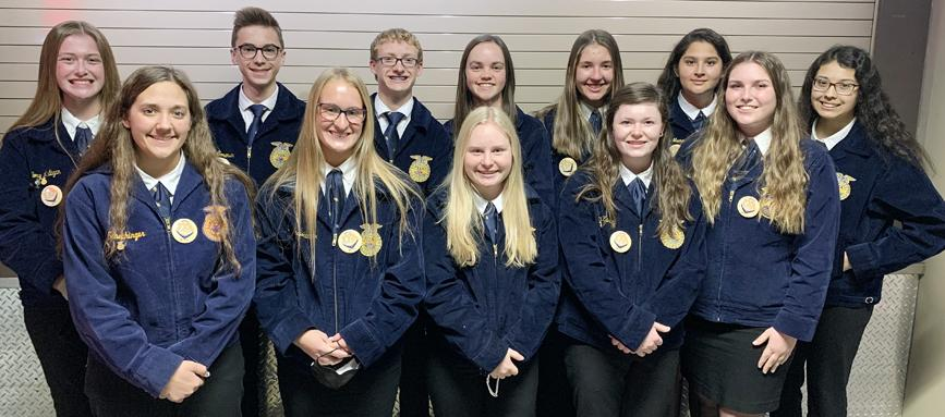Iowa State FFA Leadership Conference High School attendees included: front row, left to right, Julia Schechinger, Tianna Kasperbauer, Teya Frohlich, Ania Kaster, Grace Coenen; back row, Mallory Mulligan, Micah Sorensen, Joseph Bragg, Emily Schechinger, Allison Owens, Jocelyn Mena, and Megan Klein.