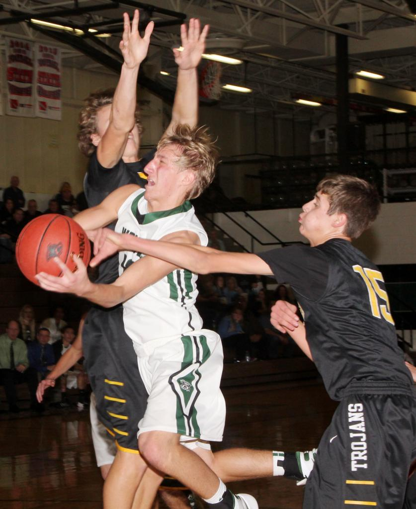 IKM-Manning senior Jared Vollstedt slices between two Tri-Center players during Friday's Western Iowa Conference game. (Photo by Kim Wegener)