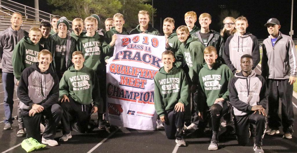 IKM-Manning athletes and coaches display their championship banner after scoring 145 points to place first in Friday's Class 1A state qualifying meet at Griswold. (Photo contributed)