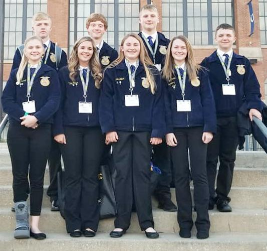 Attending the national convention from AHSTW were back L to R -- Kolby Weihs, Cody Roskens, Kyle Jorgensen and Joey Brenneis.  Front L to R -- Erin Carroll, Kyley Nelsen, Abbie Willet and Lizzie Hatch.