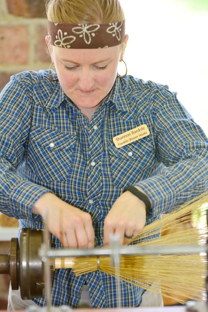 Shannon Bardole from Franklin Broom Works makes a broom from scratch.