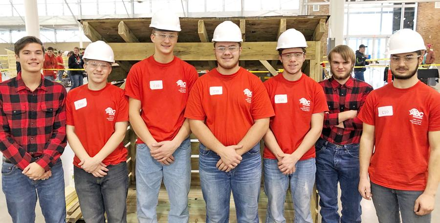 Members of the HCHS Carpentry Team are L to R -- Niall Mahoney (alternate), A.J Deas, Cody Christensen, Ethan Leinen, Joeseph Devine, Brian Anderson (alternate) and Hudson Mass.  (Photo contributed)