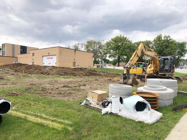 Exterior work east of the hospital by 12th street (trenching, utility connections and installation of cooling equipment) currently is taking place, and will transition to mostly interior work leading into the fall.