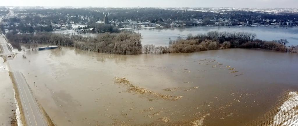 The West Nishnabotna River left its banks in east Harlan Wednesday, March 13, covering nearby fields and breaching Highway 44.  The road was closed late Wednesday, but re-opened by Thursday noon.  Highway 59 also was closed south of Harlan that week where the Nishnabotna covered the road by the Corley bridge.