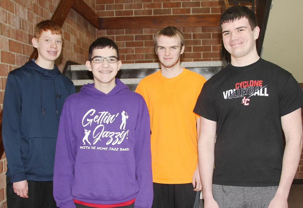Members of the HCHS CyberPatriot team that competed recently include L to R -- Sam Buman, Evan Finken, Brian Andersen and Sam Andersen.