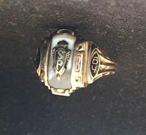 This 1964 graduation ring from Saint Peter and Paul Parochial School in Defiance has been handed down in the Bieker family to Shari Mutchler.
