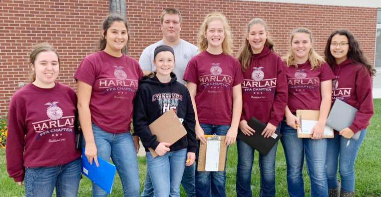 Harlan FFA Southwest District FFA Soil Judging Participants: left to right: Hannah Tunender, Jocelyn Mena, Ania Kaster, Alex Barrett, Mallory Mulligan, Allison Owens, Grace Coenen and Megan Klein.  (Photo contributed)
