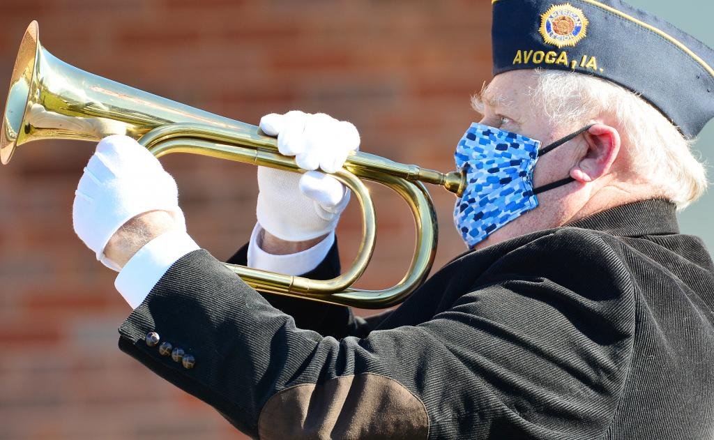 Jerry Conroy plays Taps during Veterans Day ceremonies