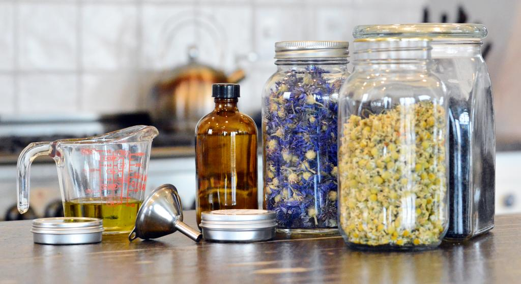 Some of the salves, syrups, teas, soaps and other natural remedies Arkfeld makes.
