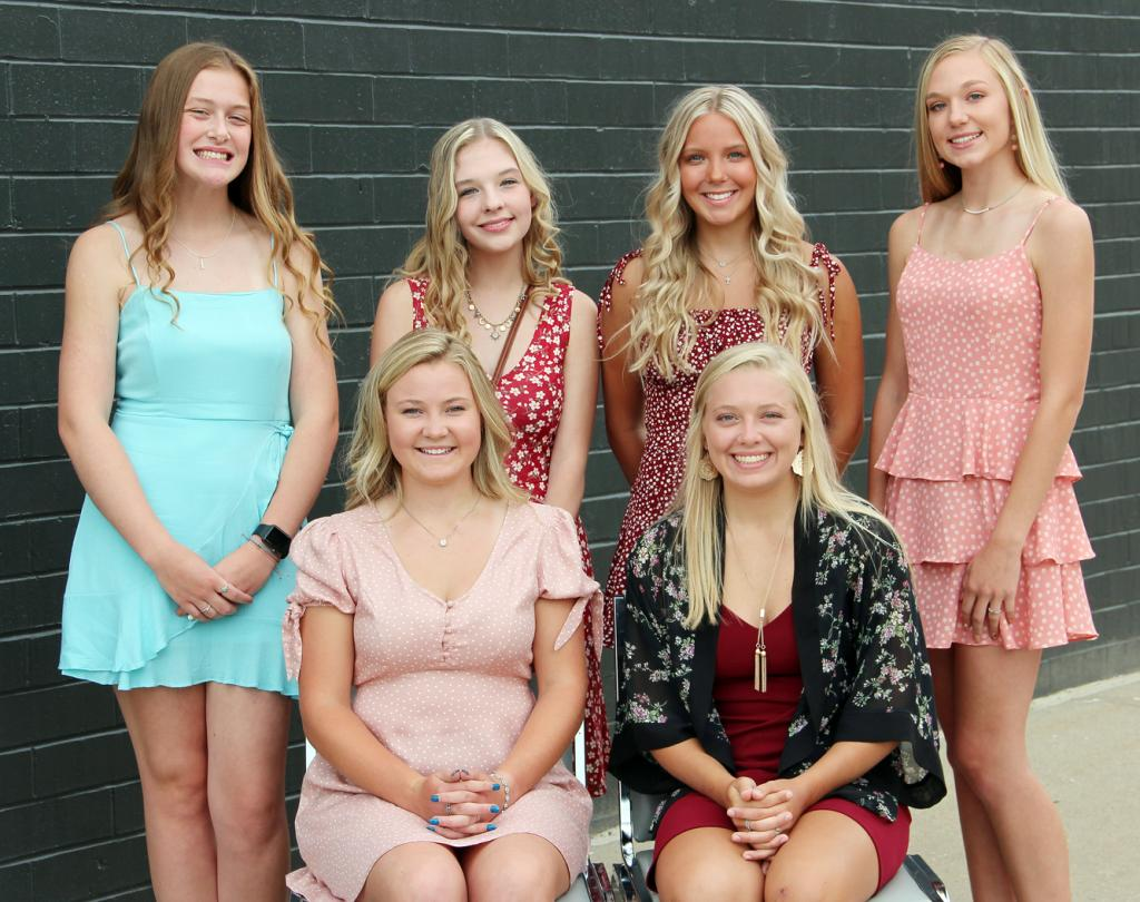 Queen candidates this year are front L to R -- Sydney O'Neill and Nicole Hansen.  Back L to R -- Mallory Mulligan, Sammi Wahling, Justine Buman and Reanna Obrecht.