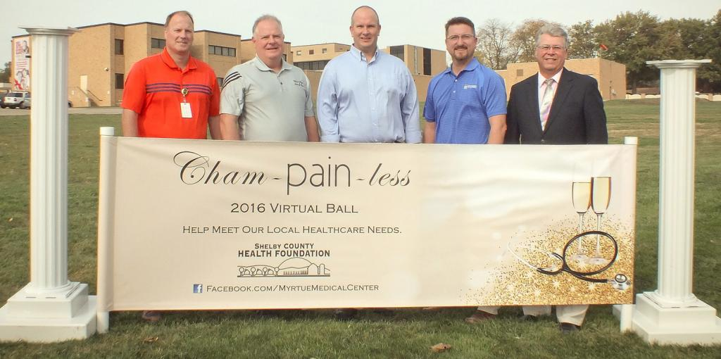 Kicking off the Cham-pain-less fund raising campaign are: Barry Jacobsen, Myrtue Medical CEO and Shelby County Health Foundation board members, Todd Langenfeld, past president; Todd Argotsinger, president; Kevin Campbell, treasurer and Brent Hansen.  (Photo contributed)