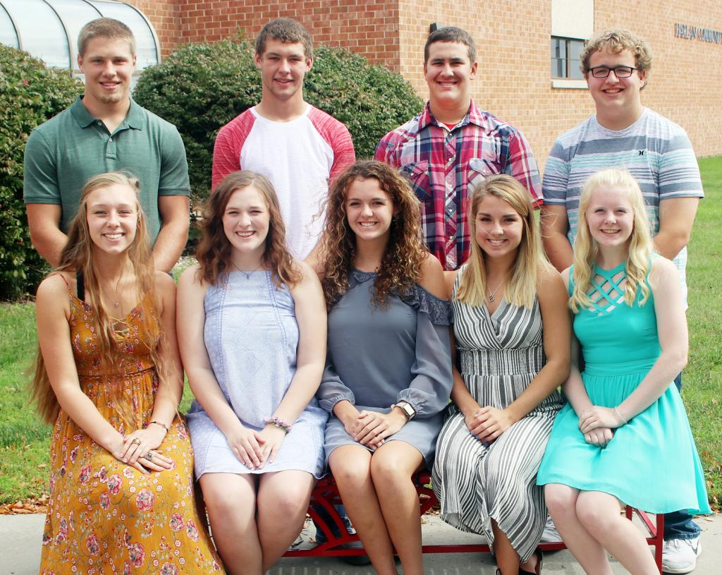 Homecoming king and queen candidates at Harlan Community High School include above L to R -- Andrea Ferry, Morgan Goetz, Anna Ahrenholtz, Chloe Hansen and Greichaly Kaster.  Back L to R -- Caleb Bieker, Jon Owens, Jack Buman and Hunter Frum.  At right, Jayden Swanson.
