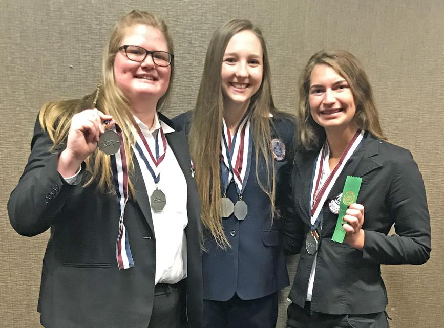 With their state medals qualifying for the international conference in Orlando, FL in June are L to R -- Powers, Borgman and Sonderman.  Anderson is missing.
