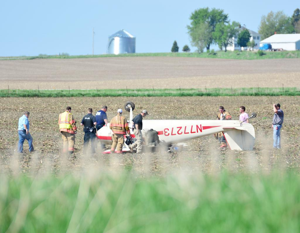 The pilot and only occupant of a small airplane walked away without injury when the plane he was piloting overturned in a field north of the Harlan Airport while attempting to land Wednesday morning, May 16.