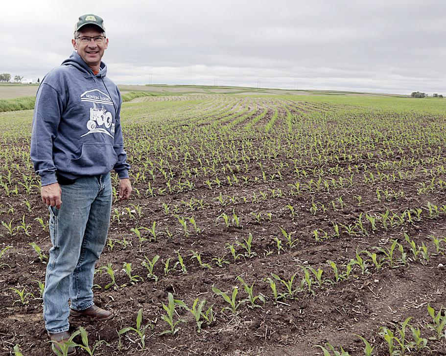 Jason Monson is pictured at his farm in Irwin Friday, May 28. Monson finished his planting nearly a month earlier on April 29.
