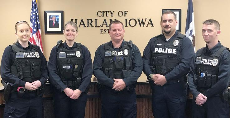 Harlan Reserve Officers include Samantha Stone, Charissa Henry, Mike Schleimer, Andrew Cole and Daniel Kammerer.  (Photo contributed)