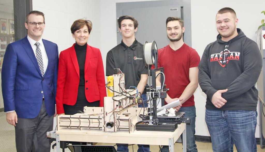 Among the presentations provided to the guests was a STEM demonstration.  Hudson Mass presented on the CNC router that he assembled and programmed himself.  Ethan Leinen presented on the Associated Builders and Contractors (ABC) of Iowa carpentry competition that he and other students attended in November 2018. Isaac Jones presented on 3-D printing and showed Governor Reynolds several designs he had created on his home-made 3-D printer.