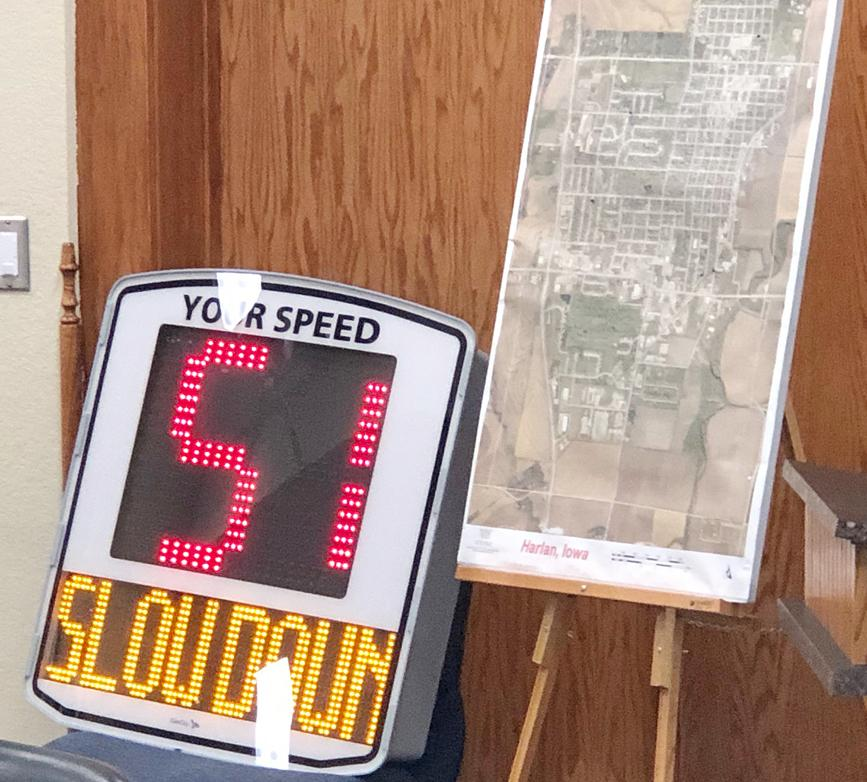 The Harlan City Council got a demonstration last week of this speed sign that will be placed in Harlan as early as August.