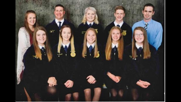 Pictured is the 2018-2019 Harlan FFA Chapter Officer Team. Left to right in front: Secretary Grace Kenkel, Reporter Allyssa Obrecht, Treasurer McKenna Boardman, Sentinel Lucy Borkowski and Bobbie Schechinger Secretary; Left to right in back: Advisor Justine McCall, President Jack Buman, Reporter Abigail Jacobsen, Vice President Andrew Schechinger and Advisor James Shughart.