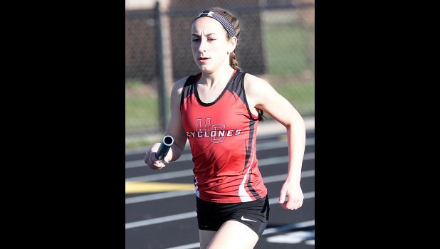 HCHS freshman Abby Alberti anchors the distance medley relay to second place.