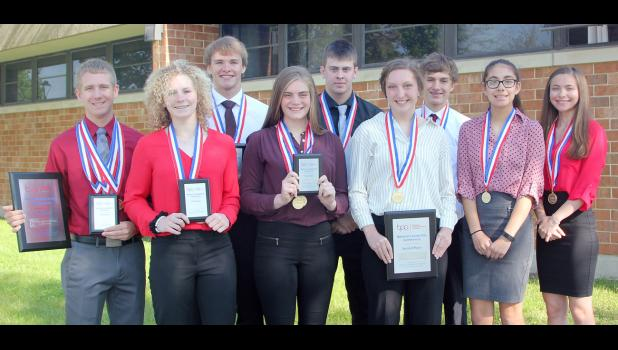 Placing in the National BPA Conference contests were front, from left; Brecken Van Baale, Brooke Goshorn, Dani Arkfeld, Casey Kohl and Caitlin Clemons.  Back: Jay Swanson, Eli Boldan, Tyler Schaben and Trey Gross.