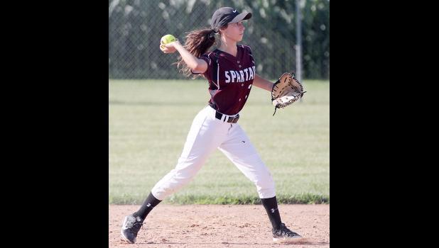 Spartan senior second baseman Bailey Robertson makes a throw to first.