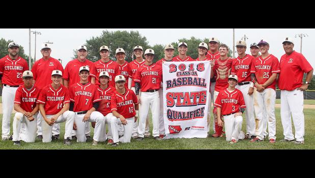 The Harlan Community baseball team stands behind its eighth consecutive State Baseball Tournament qualifying banner following last Wednesday's 6-0 substate final victory over Winterset at Jim Goeser Field. The top-ranked and number two-seeded Cyclones will face Boone in a Class 3A state quarterfinal game Tuesday night at Principal Park.