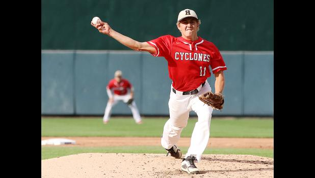 HCHS senior Jacob Bartley pitched three and one-third innings of relief during Saturday's state title game.