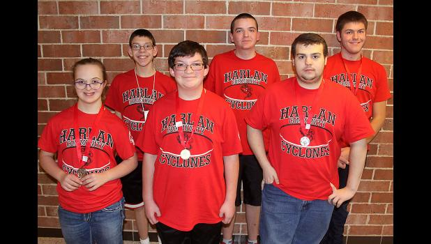 Special Olympics state bowlers from Harlan Community High School included, left-right: Chloe Hays, Mike Kenkel, Billy Joe Harvey, Cam Hicks, Tom Mercier and Lake Goetz.