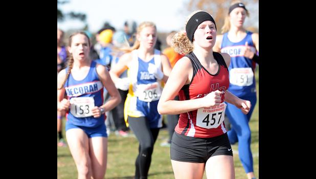 Cyclone freshman Brecken Van Baale (right) competed in her first state meet Saturday at Fort Dodge.