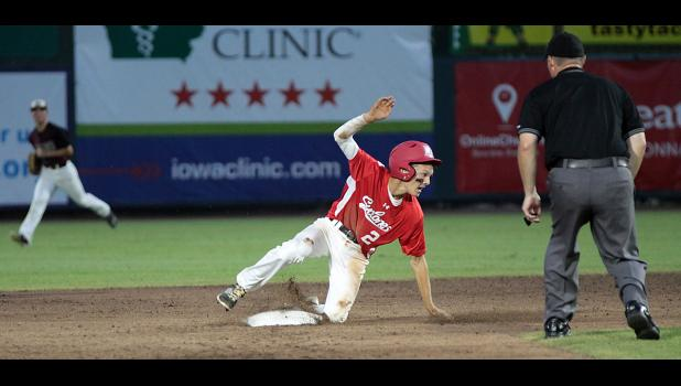 Harlan Community freshman Connor Bruck (2) steals second base during the Cyclones' 6-0 state tournament win over Oskaloosa.