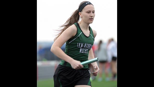 IKM-Manning's Gabrielle Cadwell anchors the Wolves' 4x800 relay to a Western Iowa Conference runner-up finish.