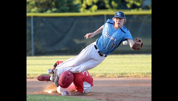 Lewis Central shortstop Brendon Figueroa (10) is upended by Harlan Community senior Joshua Cheek on a stolen base during Monday's Cyclone win. Figueroa landed hard on the infield dirt but was able to stay in the game. (Photos by Mike Oeffner)