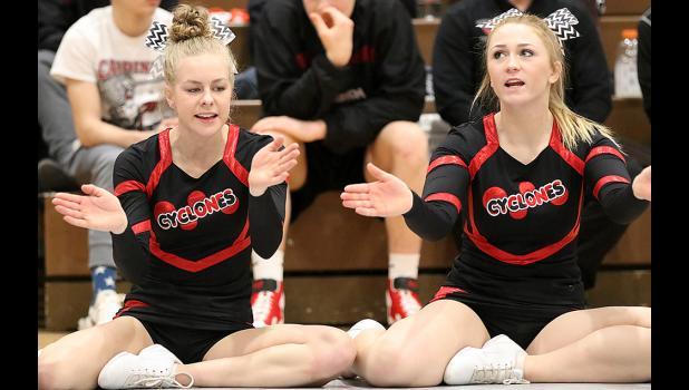 HCHS cheerleaders Nadia Baxter (left) and Padyn Reep.