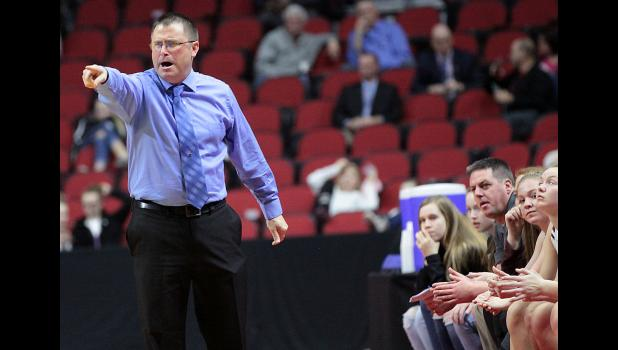 Spartans coach Tom Petersen shouts instructions to his team during the first half of Wednesday's state quarterfinal win.