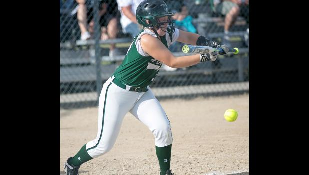 IKM-Manning's Kate Crawford lays down a second-inning sacrifice bunt that helped set up the Wolves' first run during Friday's 8-2 WIC Tournament championship game win over Missouri Valley.