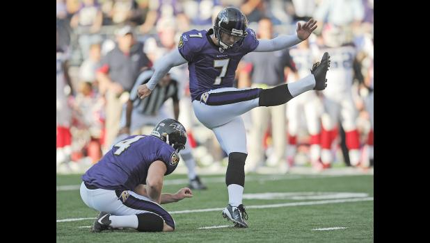 Former Harlanite Billy Cundiff kicks a field goal for the Baltimore Ravens during his 2010 Pro Bowl season. (Photo contributed)