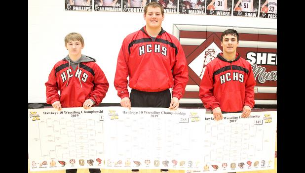 Left-right: Harlan Community junior Ethan Lemon (126), senior Derec Weyer (285) and senior Oscar Olmos (145) all earned Hawkeye Ten championship medals on Saturday at the conference meet in Shenandoah. Lemon became the Cyclones' first two-time H-10 champion since Jerry Stinn in 1994 and 1995. Saturday also marked the first time HCHS has claimed three conference champions since it won four weight classes in 1988. (Photos by Mike Oeffner)