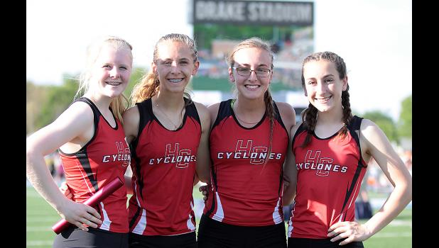 Members of the Cyclone girls' 4x800 relay team at state included, left-right: Greichaly Kaster, Liv Freund, Kara Rueschenberg and Abby Alberti. (Photos by Mike Oeffner)