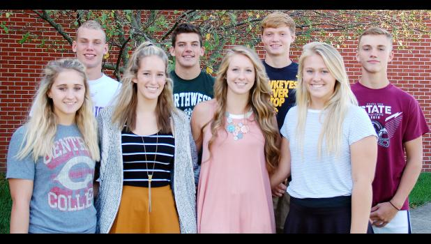 Homecoming king and queen candidates have been selected and include front L to R – Sadie Schultes, Rachel Walker, Malaina Leader and Maggie Rasmussen.  Back L to R – Cole Bruns, Chris Paulsen, Gage Lauritsen and Tyson Patridge.