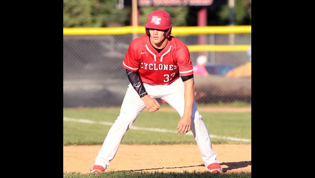 Cyclone senior Nick Foss, who scored four runs vs. Shenandoah, takes a lead off first base.