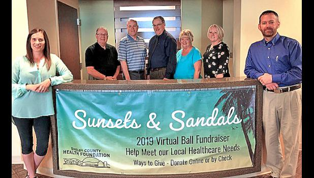 Kicking off the Sunsets & Sandals fundraising campaign are:  Shelby County Health Foundation Board members, Lisa Riggs, President; Jan Norgaard, Vice-President; Mike Frederick, treasurer; Molly Scheve, member; Dr. Roger Davidson, member, Terry Torneten, member; and Marcus Gross, member.