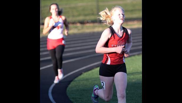Harlan Community sophomore Greichaly Kaster competes in the 1,500-meter run during Thursday's Koos Relays. Kaster placed third in the 1,500 after winning the 3,000 earlier in the meet.