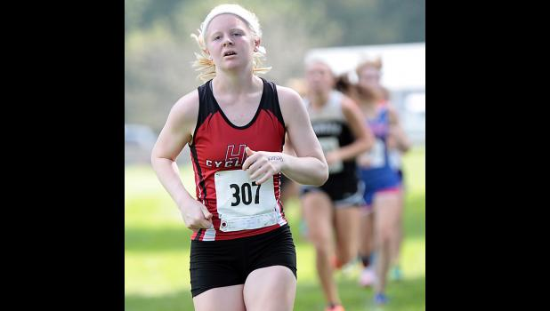 HCHS junior Greichaly Kaster placed 10th to lead the Cyclone girls in Saturday's home meet.