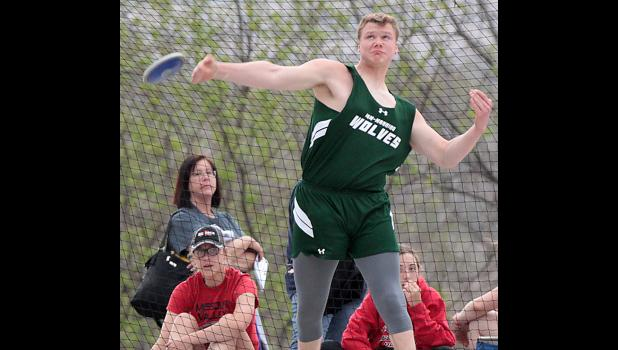 IKM-Manning's Grant Stracke placed fourth in the boys discus throw at the WIC Co-Ed Track Meet held Tuesday and Wednesday. (Photos by Mike Oeffner)
