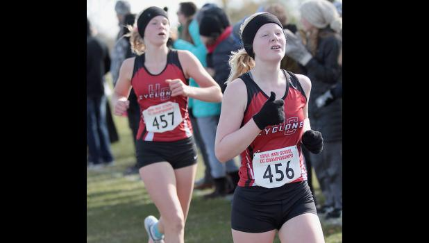 Harlan Community junior Greichaly Kaster (right) and freshman Brecken Van Baale compete at Saturday's State Cross Country Championships. Van Baale finished 66th and Kaster was 68th out of 138 girls runners in Class 3A. (Photos by Mike Oeffner)