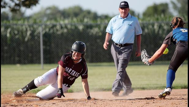 Spartan freshman Tatum Grubbs slides into second base safely during Friday's 12-6 win over Glidden-Ralston.