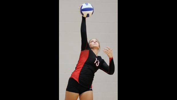 HCHS junior Haley Manz served 8-for-8 against Lewis Central.