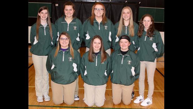 IKM-Manning Girls Golf Team --- Front row, L-R: Kamaya Jacobsen, Bre Muhlbauer, Cassie Woodbeck.  Back row L-R: Hanna Mullen, Neeka Jacobsen, Lillie Ceminsky, Bailey Schechinger, Grace Gaer.