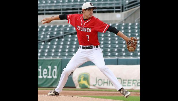 HCHS starting pitcher Riley Kohles delivers a pitch during the state championship game.